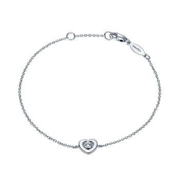 14k White Gold Diamond Heart Bracelet