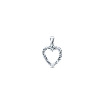 14k White Gold Diamond Heart Heart Pendant