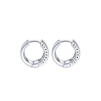 14k White Gold Diamond Multi Color Stones Huggie Earrings