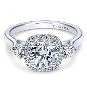 14K White Gold Diamond Pave Halo ANd Side Stone Setting 14K White Gold Engagement Ring ER7510W44Jj