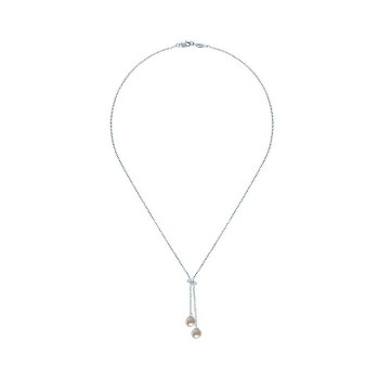 14k White Gold Diamond Pearl Lariat Necklace