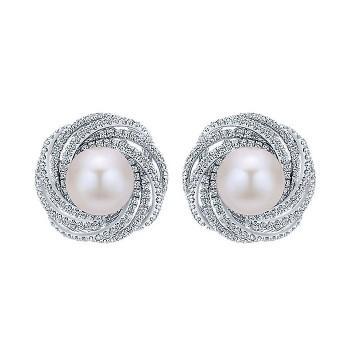 14k White Gold Diamond Pearl Stud Earrings
