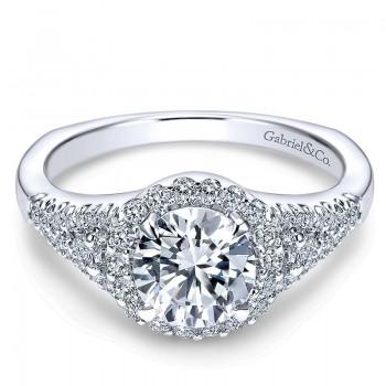 14K White Gold Diamond Round Pave Halo 14K White Gold Engagement Ring ER4179W44Jj