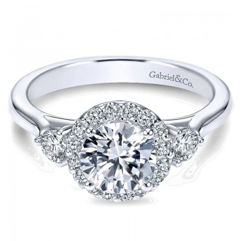14K White Gold Diamond Round Pave Halo ANd Side Stone Setting 14K White Gold Engagement Ring ER7482W