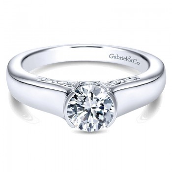 Engagement Ring 14k White Gold Diamond Solitaire
