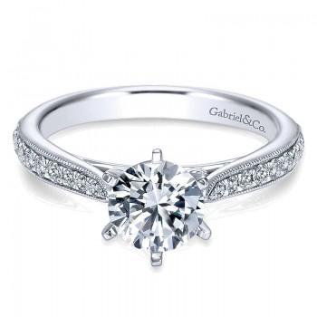 14K White Gold Diamond Straight Channel ANd Milgrain 14K White Gold Engagement Ring ER6687W44Jj