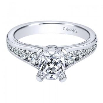 Engagement Ring 14k White Gold Diamond Straight