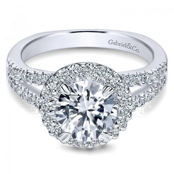 14K White Gold Pave Diamond Halo With European Split Shank 14K White Gold Engagement Ring ER4112W44J