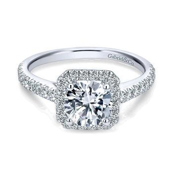 14K White Gold Petite Diamond Halo ANd French Pave Shank 14K White Gold Engagement Ring ER7252W44Jj