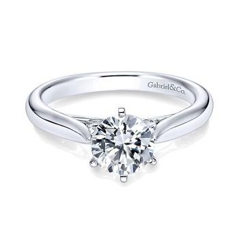 14K White Gold Solitaire Diamond With Rounded Shank 14K White Gold Engagement Ring ER6668W44Jj