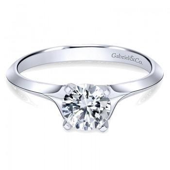 14K White Gold Solitaire Rounded Cathedral 14K White Gold Engagement Ring ER11832R3W4Jjj