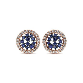 14k White/pink Gold Diamond And Sapphire Stud Earrings