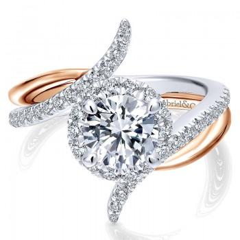 14K White/Pink Gold Diamond Halo Two-Tone Engagement Ring ER12758R4T44Jj