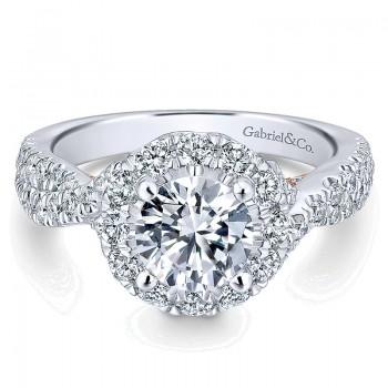 14K White/Pink Gold Diamond Halo Two-Tone Engagement Ring ER12822R4T44Jj