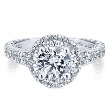 14K White/Pink Gold Diamond Halo Two-Tone Engagement Ring ER12825R4T44Jj