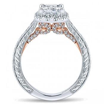 Gabriel & Co. 14k 14k Rose Gold; 14k White Gold Diamond Halo Ring ER12826S4T44JJ