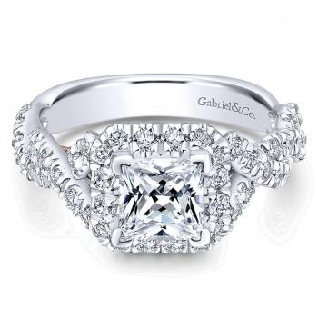 14K White/Pink Gold Diamond Halo Two-Tone Engagement Ring ER12831S4T44Jj