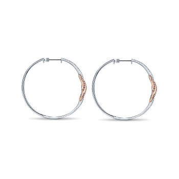 14k White/pink Gold Diamond Intricate Hoop Earrings