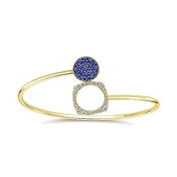 14k Yellow Gold Diamond And Sapphire Bangle