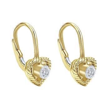 14k Yellow Gold Diamond Drop Earrings