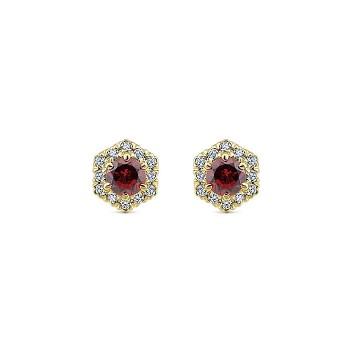 14k Yellow Gold Diamond Garnet Stud Earrings