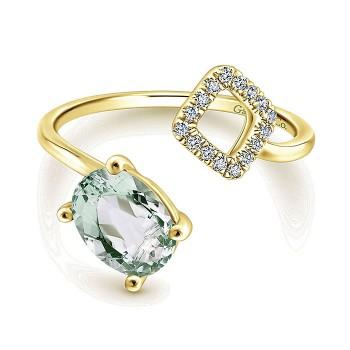 14k Yellow Gold Diamond Green Amethyst Fashion Ladies' Ring