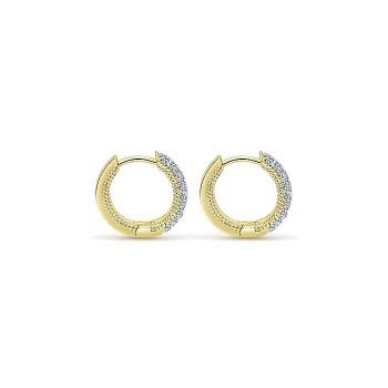 14k Yellow Gold Diamond Huggie Earrings