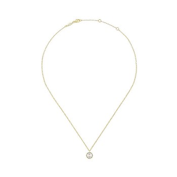 14k Yellow Gold Diamond Pearl Fashion Necklace