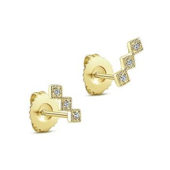 14k Yellow Gold Diamond Stud Earrings
