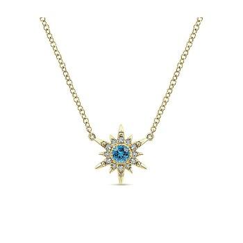 14k Yellow Gold Diamond Swiss Blue Topaz Fashion Necklace