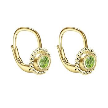 14k Yellow Gold Peridot Drop Earrings