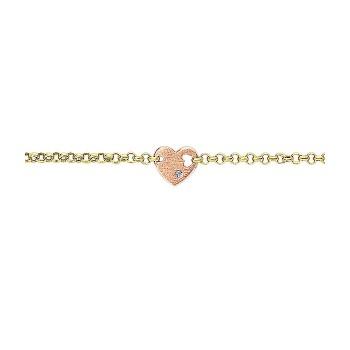 14k Yellow/pink Gold Diamond Heart Bracelet