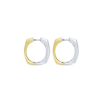 14k Yellow/white Gold Diamond Classic Hoop Earrings
