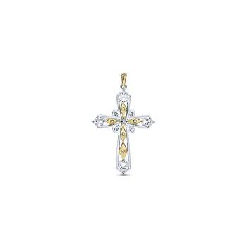 14k Yellow/white Gold Diamond Cross Cross Pendant