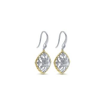 14k Yellow/white Gold Diamond Drop Earrings