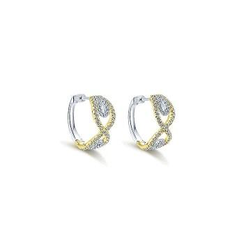 14k Yellow/white Gold Diamond Huggie Earrings