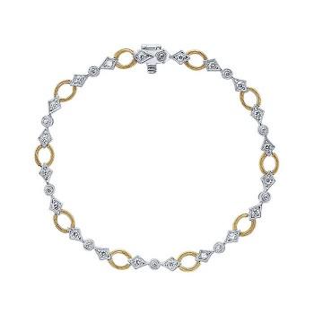 14k Yellow/white Gold Diamond Tennis Bracelet