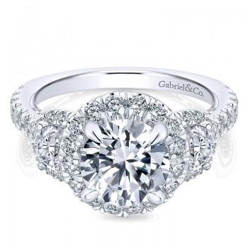 18K White Gold Diamond 3 Stones Halo 18K White Gold Engagement Ring ER13441R6W84Jj