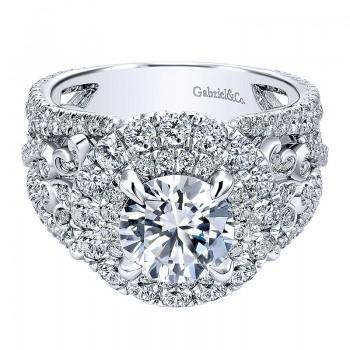 18K White Gold Diamond Double Halo 18K White Gold Engagement Ring ER11998R6W84Jj