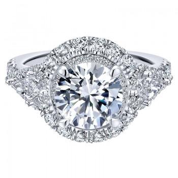 18K White Gold Diamond Double Halo 18K White Gold Engagement Ring ER12353R6W84Jj