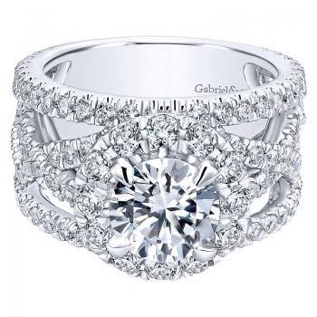 18K White Gold Diamond Halo 18K White Gold Engagement Ring ER11997R6W84Jj