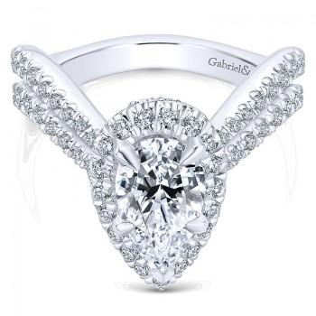 18K White Gold Diamond Halo 18K White Gold Engagement Ring ER13661P6W84Jj