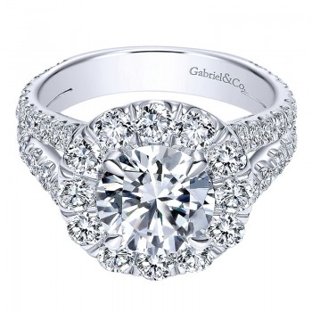 18K White Gold Diamond Halo 18K White Gold Engagement Ring ER8326W84Jj
