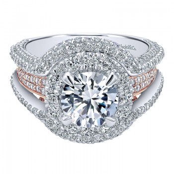 18K White/Pink Gold Diamond Double Halo Two-Tone Engagement Ring ER11995R6T84Jj