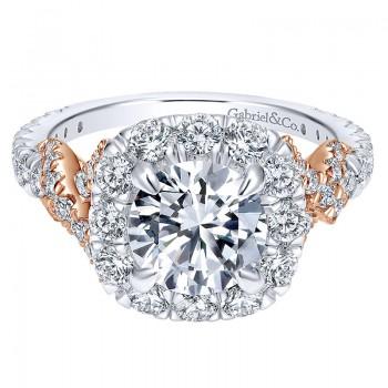 18K White/Pink Gold Diamond Halo Two-Tone Engagement Ring ER11972R6T84Jj