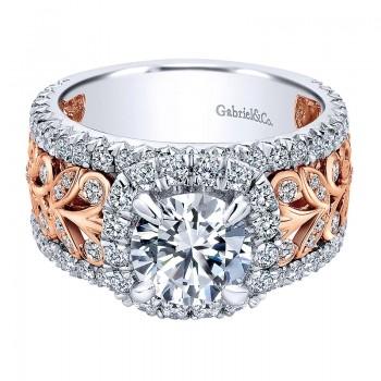 18K White/Pink Gold Diamond Halo Two-Tone Engagement Ring ER11985R6T84Jj