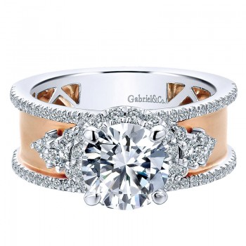 18K White/Pink Gold Diamond Halo Two-Tone Engagement Ring ER12184R4T84Jj