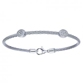 925 Silver/stainless Steel Diamond Bracelet