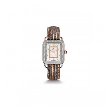 Deco II Mid Diamond Two-Tone Rose Gold, Diamond Dial Multi Lizard Watch