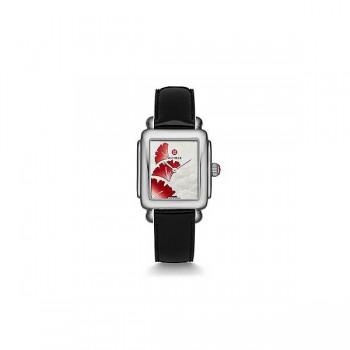 Deco 16, Ginkgo Dial Black Leather Watch
